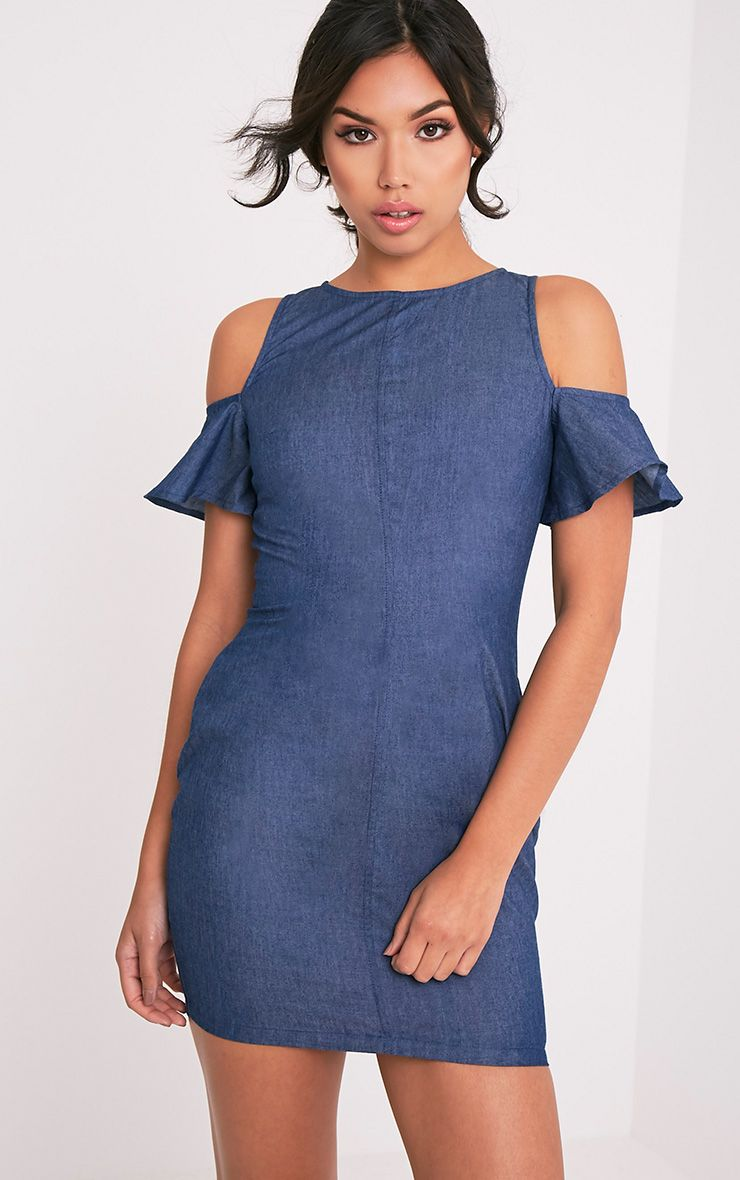 8c72d11770 Haysa Light Wash Denim Feel Dress - Denim - PrettylittleThing ...
