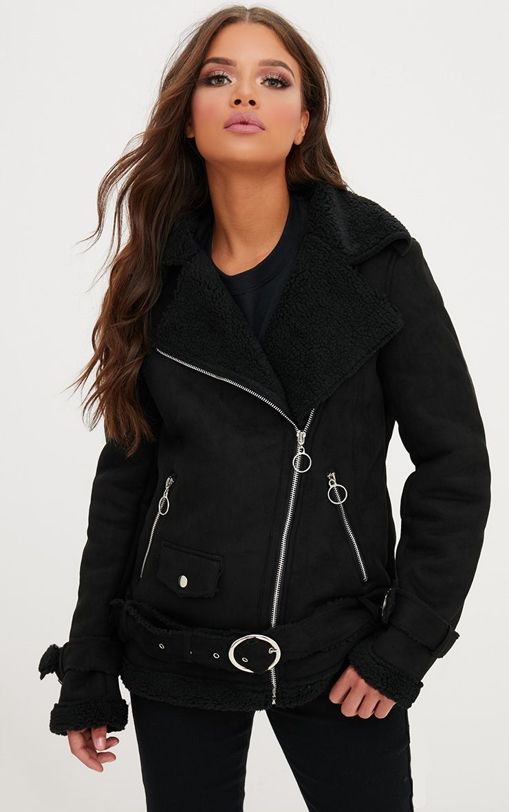 Black Ring Pull Faux Suede Aviator Coat