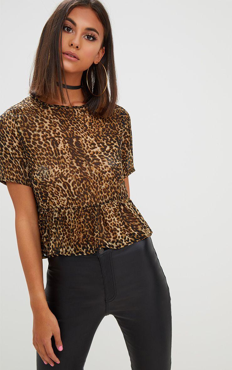 Tan Leopard Print Mesh Frill Sleeve T Shirt