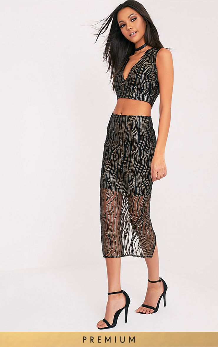Divina Black Sparkle Longline Midi Skirt