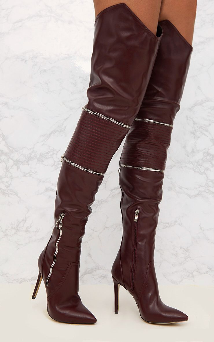 Burgundy Thigh High Heeled Biker Boots