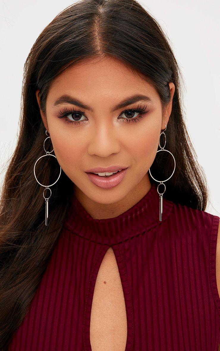Silver Simplistic Miss Match Circle Earrings