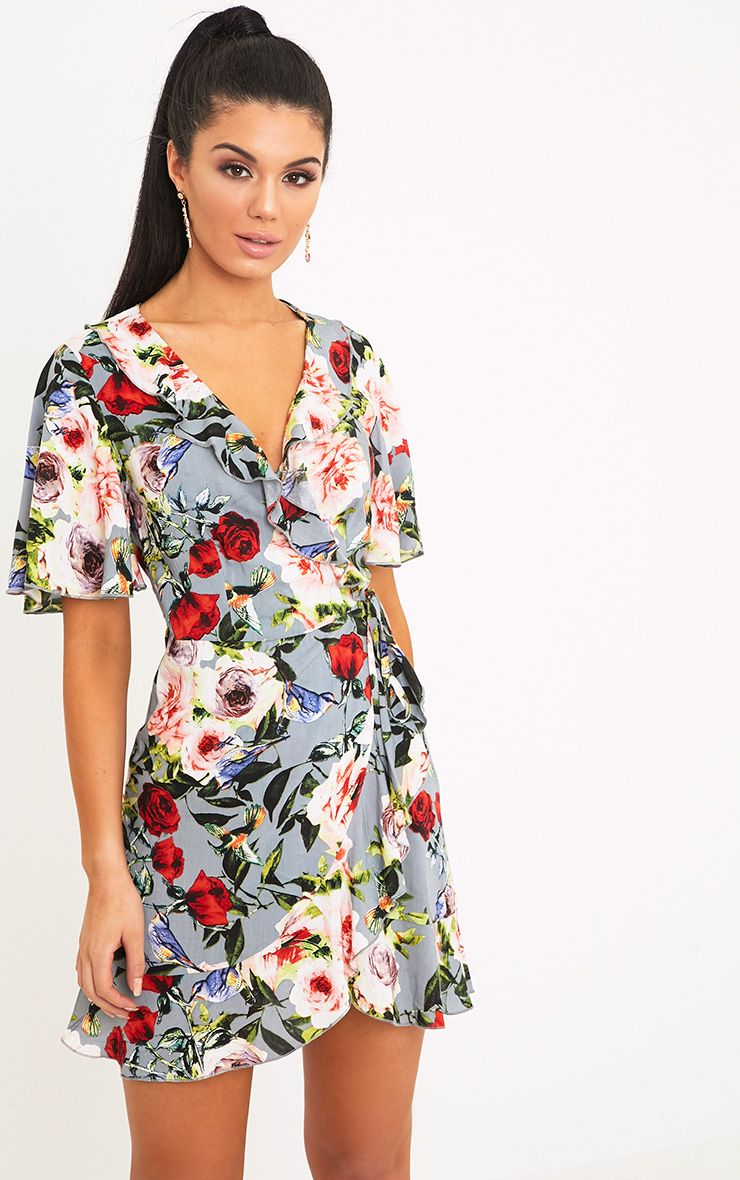 Ammie Grey Floral Wrap Dress