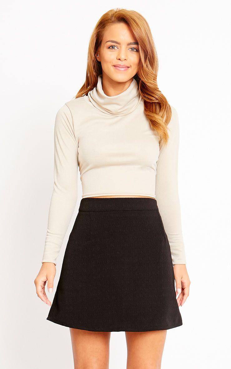 Rori Black Crepe A Line Mini Skirt 1