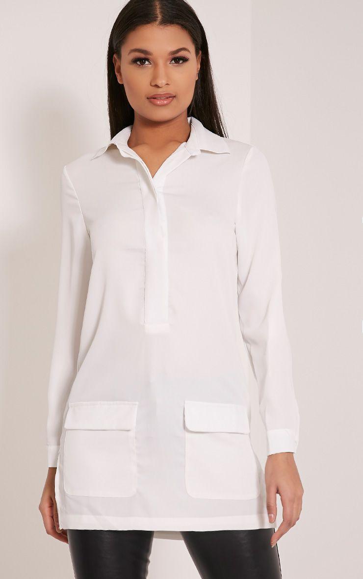 Hana White Pocket Detail Oversized Longline Shirt 1