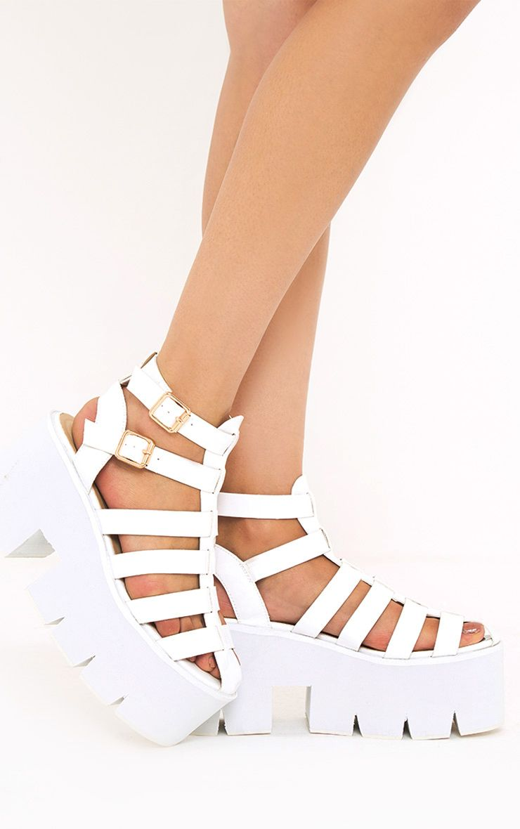Jovana White Cleated Flatform Sandals