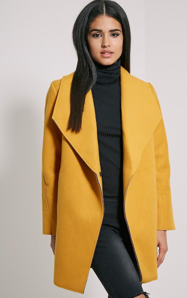 Saphari Mustard Contrast Oversized Coat 1