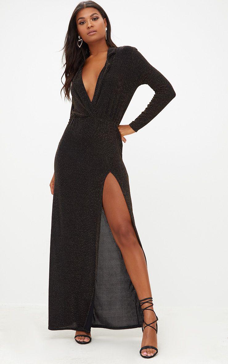Black Lurex Plunge Long Sleeved Maxi Dress