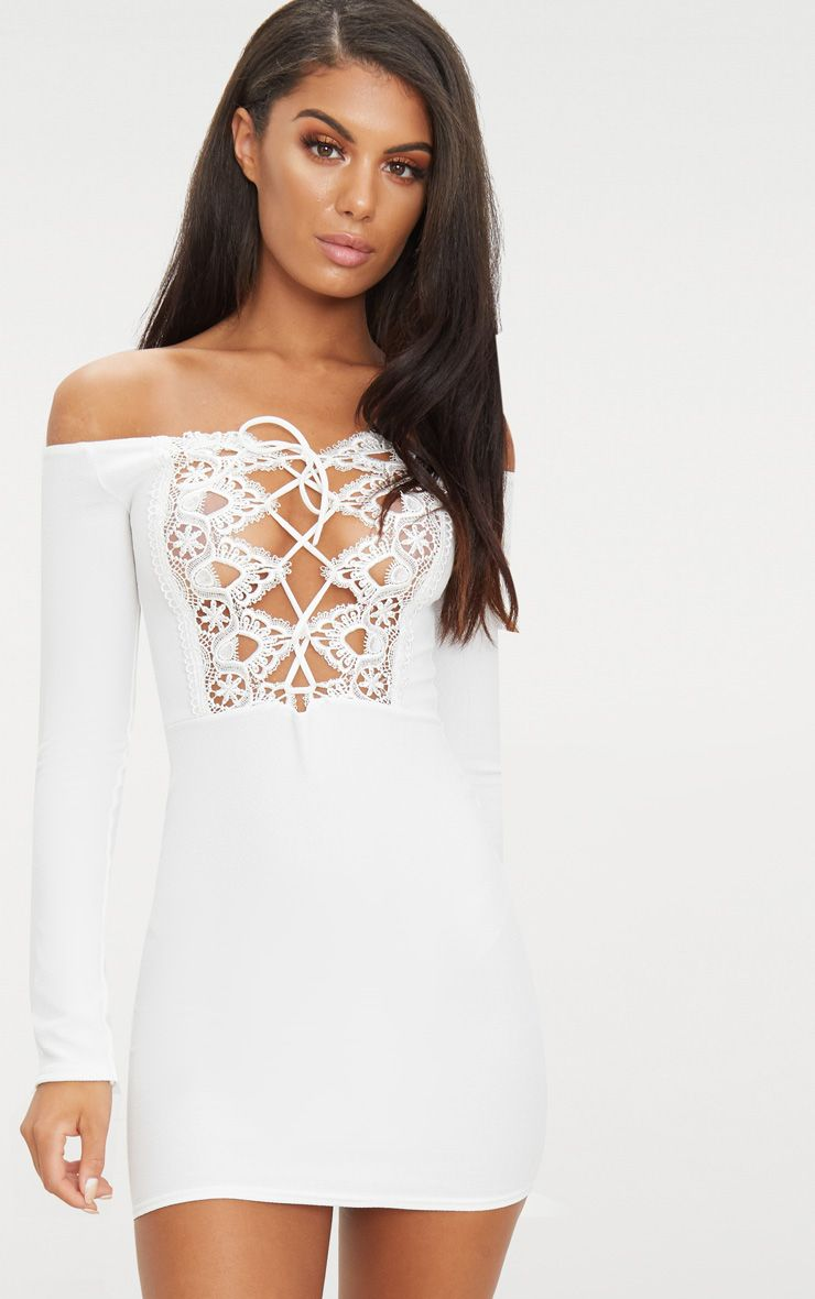 White Lace Up Bardot Bodycon Dress