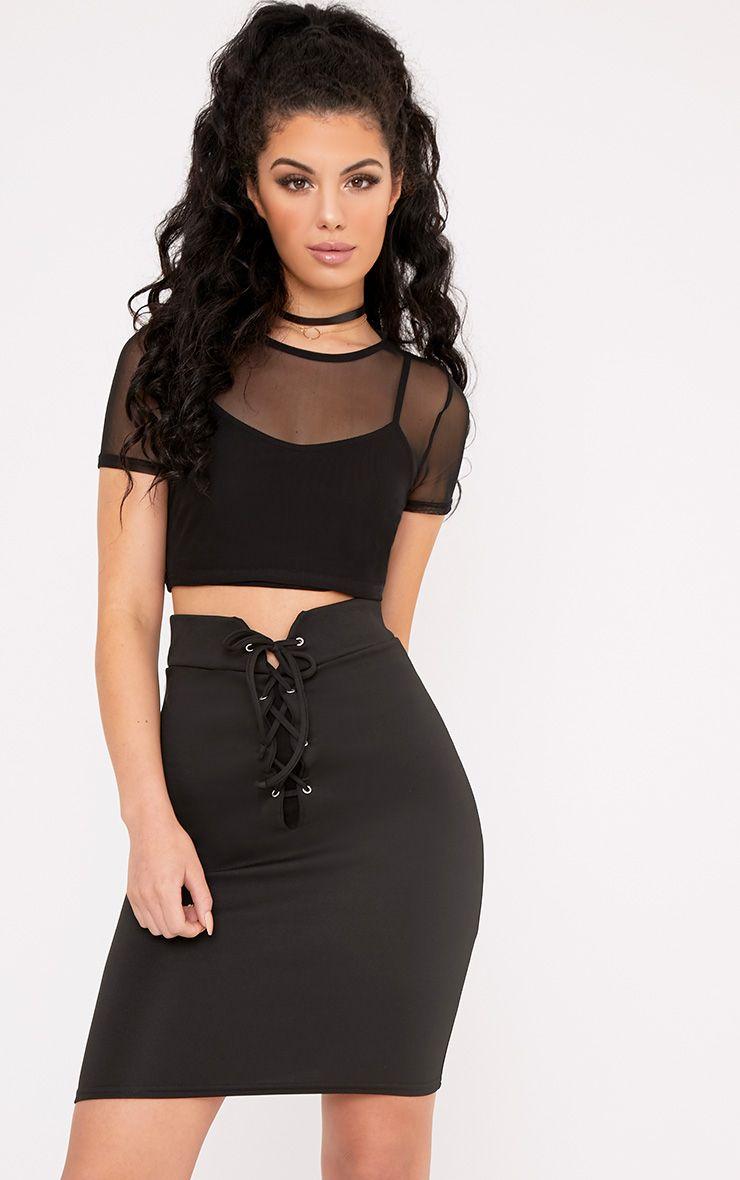 Rachella Black High Waisted Lace Up Mini Skirt 1