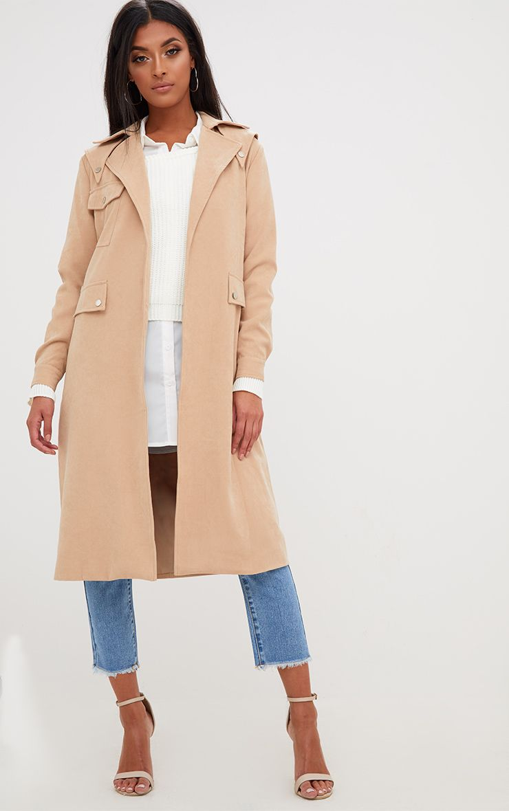 Beige Longline Belted Trench Coat