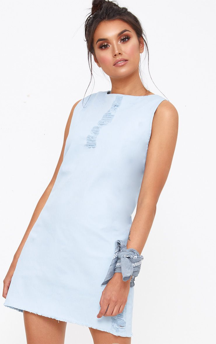 Light Wash Sleeveless Denim A Line Mini Dress