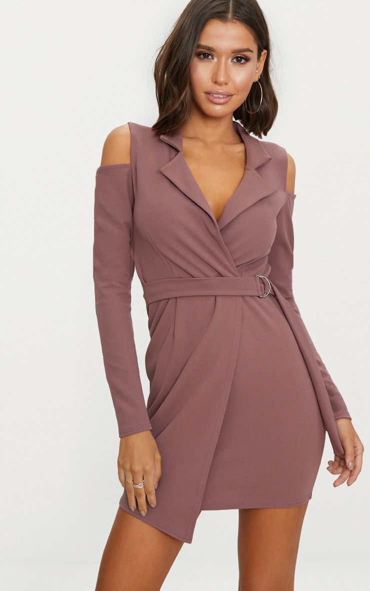Dark Mauve Cold Shoulder Blazer Dress