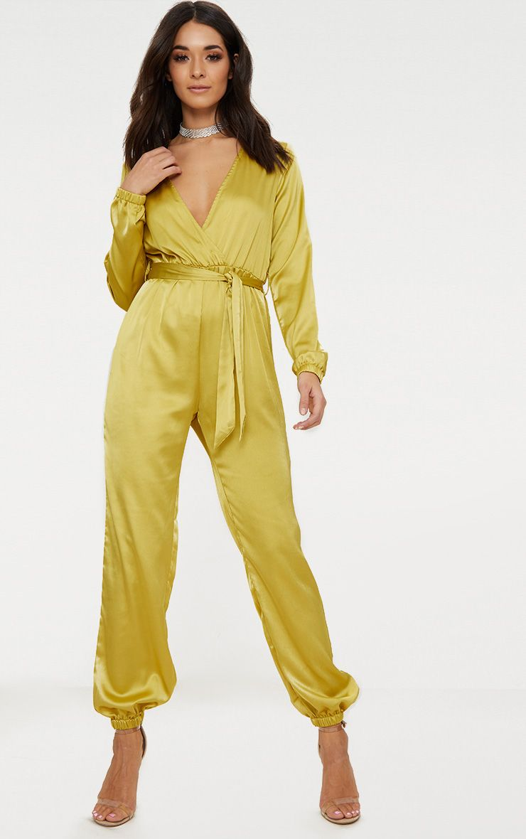 Dark Lime Satin Wrap Jumpsuit