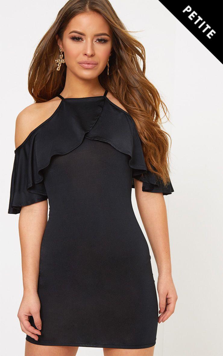 Petite Black Slinky Frill Sleeve Mini Dress