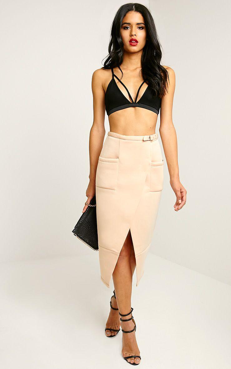Savi Nude Wrap Midi Skirt 1