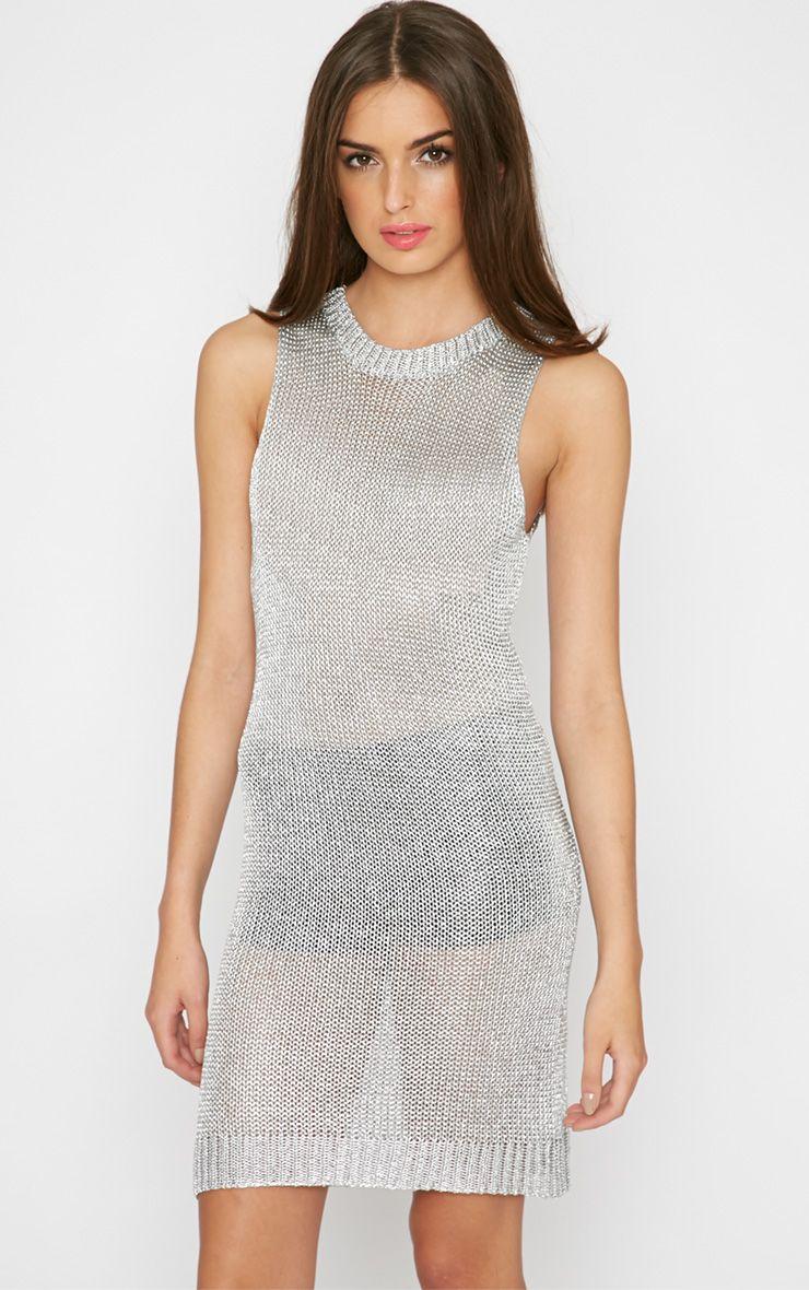 Della Silver Knitted Vest Dress 1