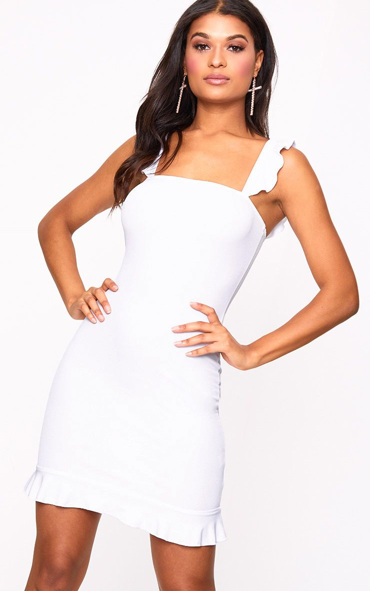 White Square Neck Frill Strap Bodycon Dress