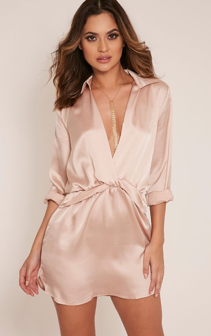 Katalea Champagne Twist Front Silky Shirt Dress