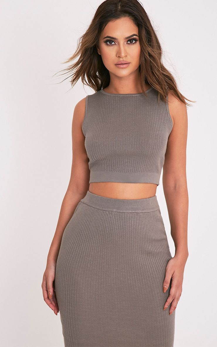 Aurelie Olive Ribbed Knitted Crop Top 1