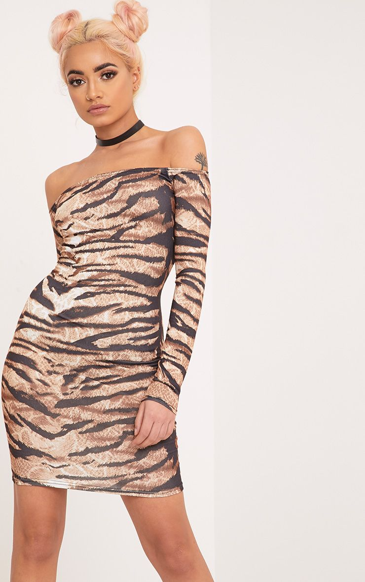 Tiger Print Brown Bardot Long Sleeve Bodycon Dress