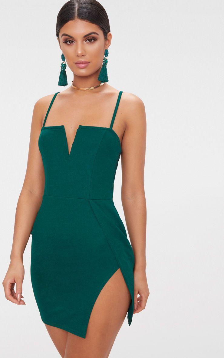 Emerald Green Extreme Thigh Split Panelled Plunge Bodycon Dress