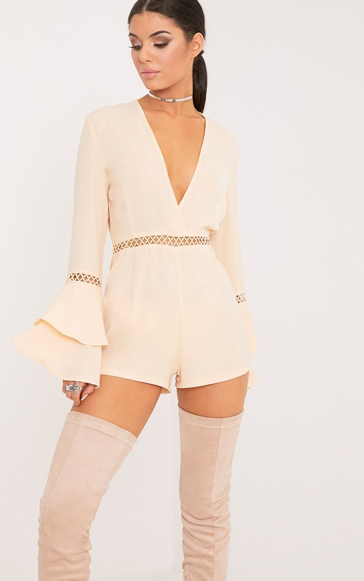 Marnie Cream Frill Sleeve Playsuit