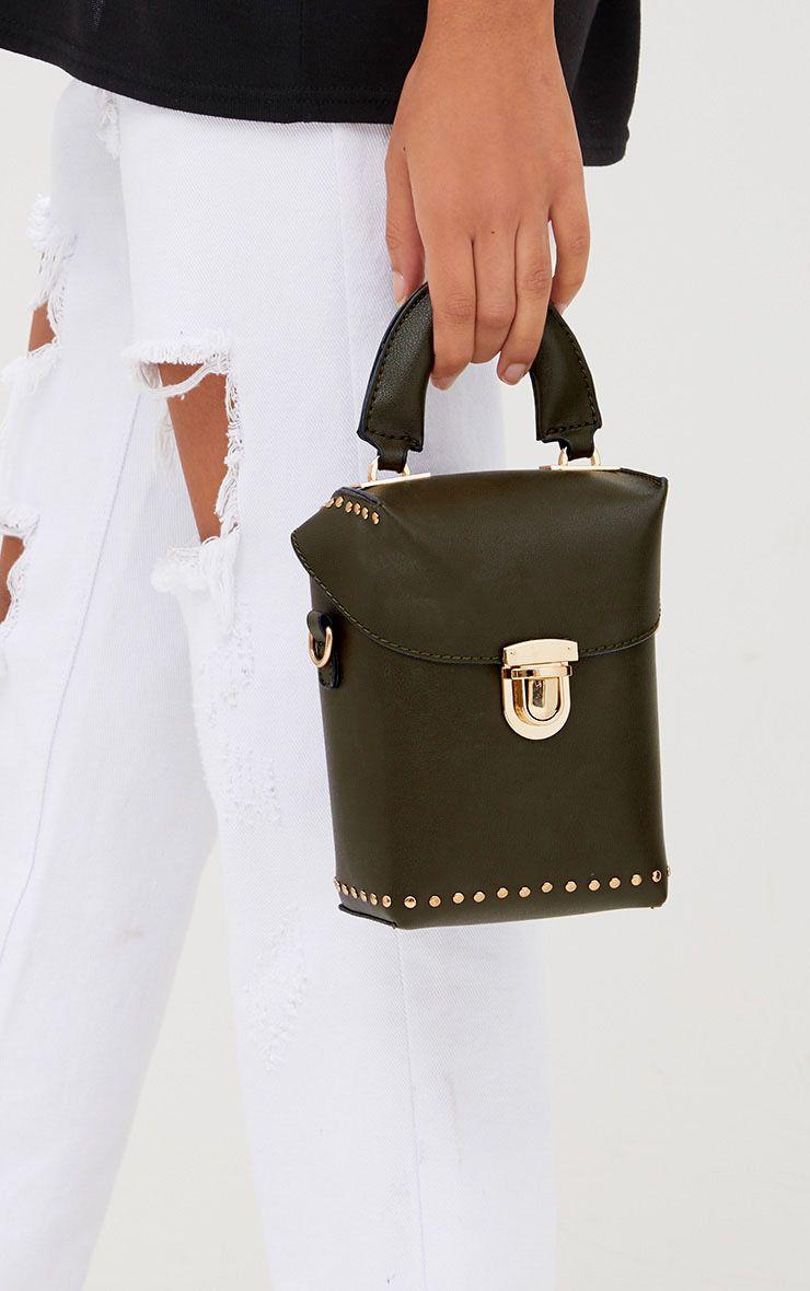 Mini sac à main olive avec poignée
