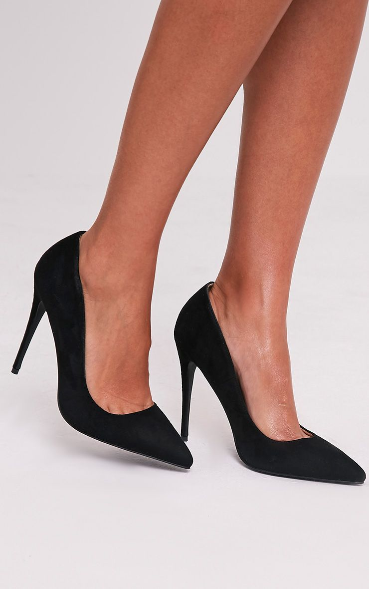 Dynah Black Faux Suede Pointed Heels
