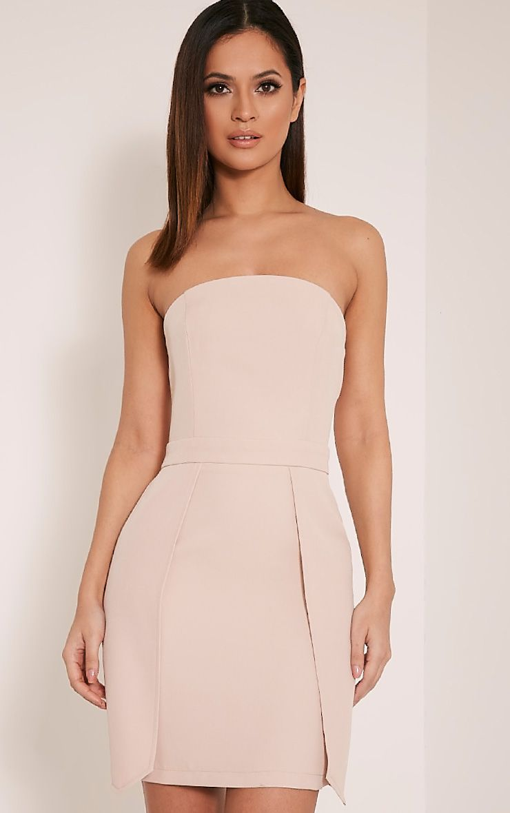 Jonna Nude Crepe Bandeau Mini Dress 1