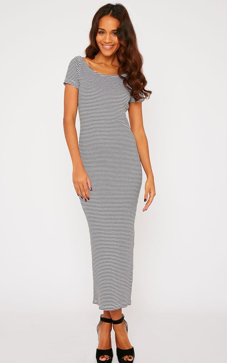 Suzie Black Ribbed Jersey Stripe Print Maxi Dress 1