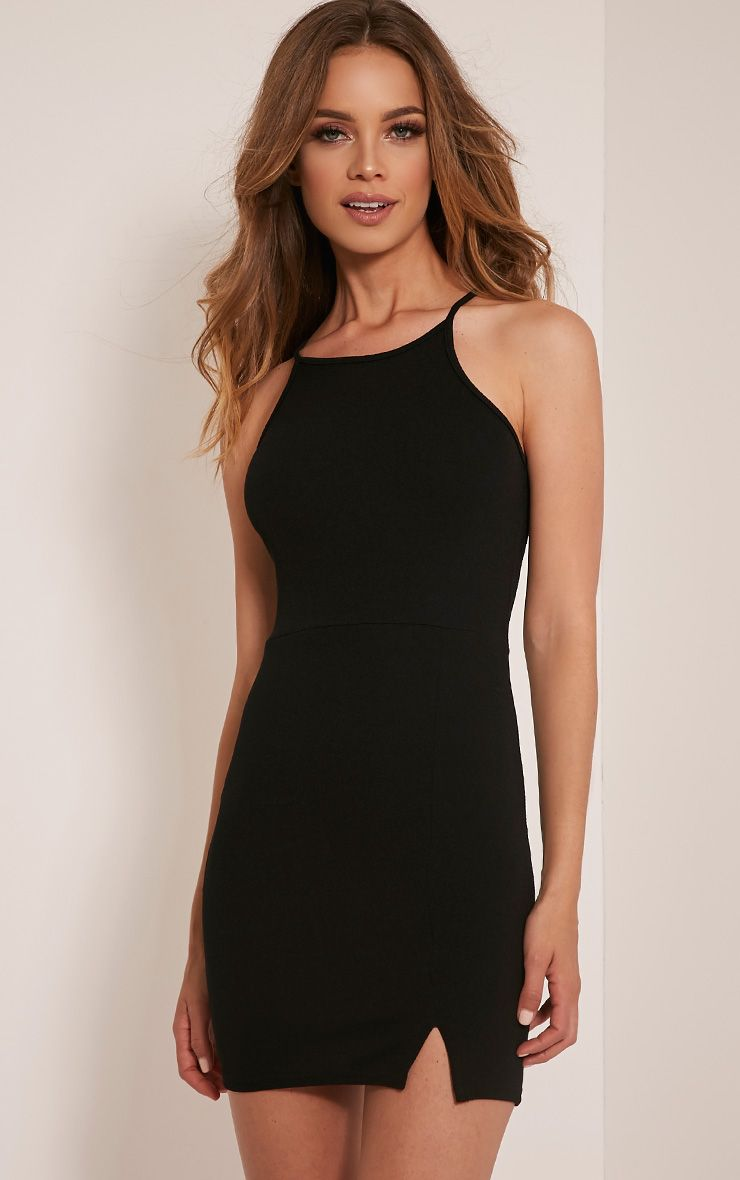 Aniqah Black High Neck Split Detail Bodycon Dress