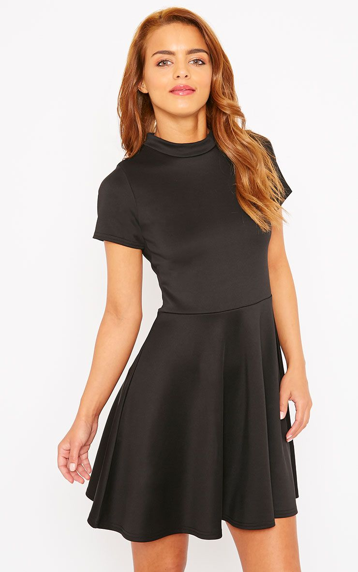 Alexandria Black High Neck Skater Dress 1