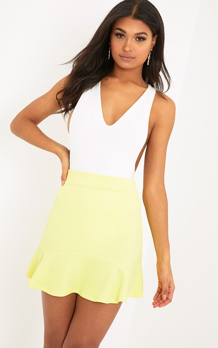 Verity Lemon Textured Flippy Hem Mini Skirt