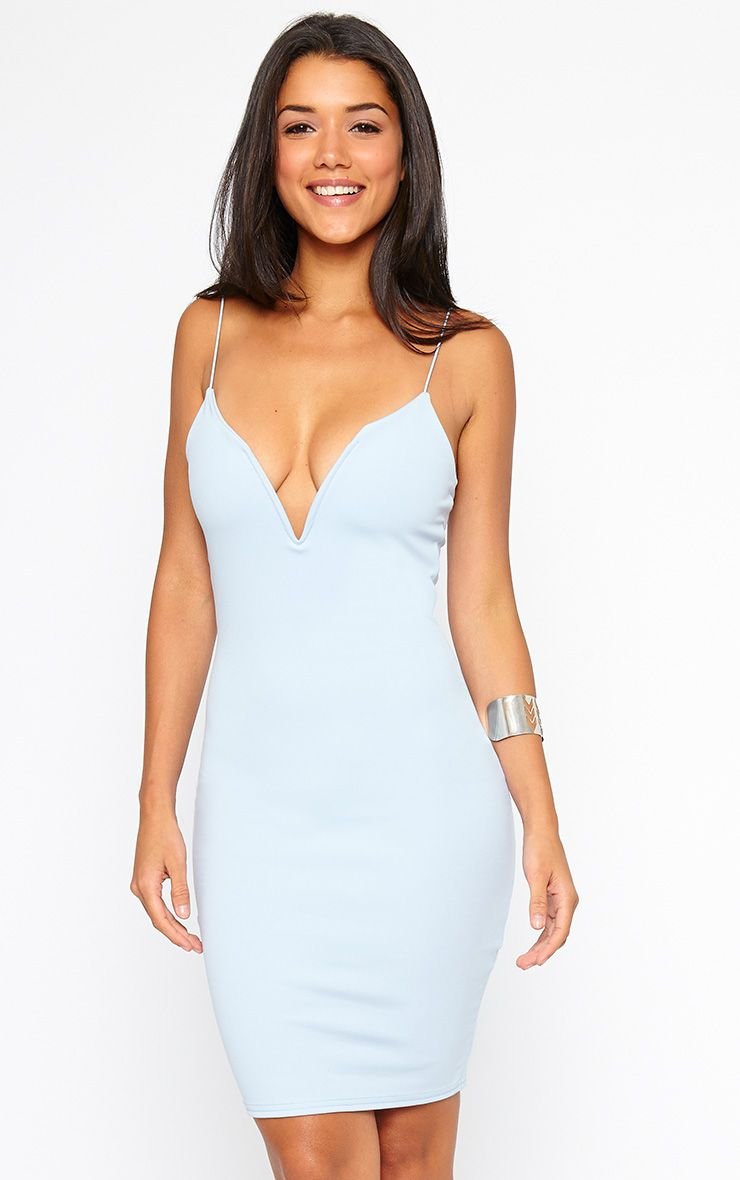 Marisole Powder Blue Plunge Front V Bar Dress 1