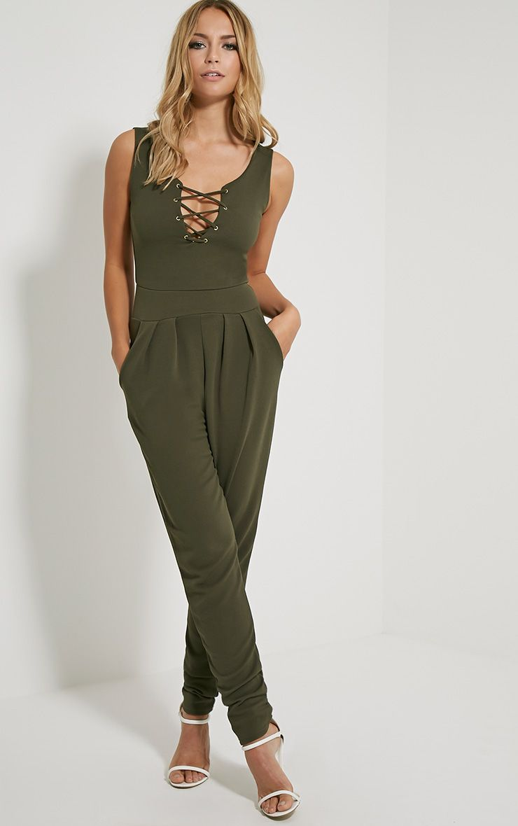 Remi Khaki Lace Up Crepe Jumpsuit Green