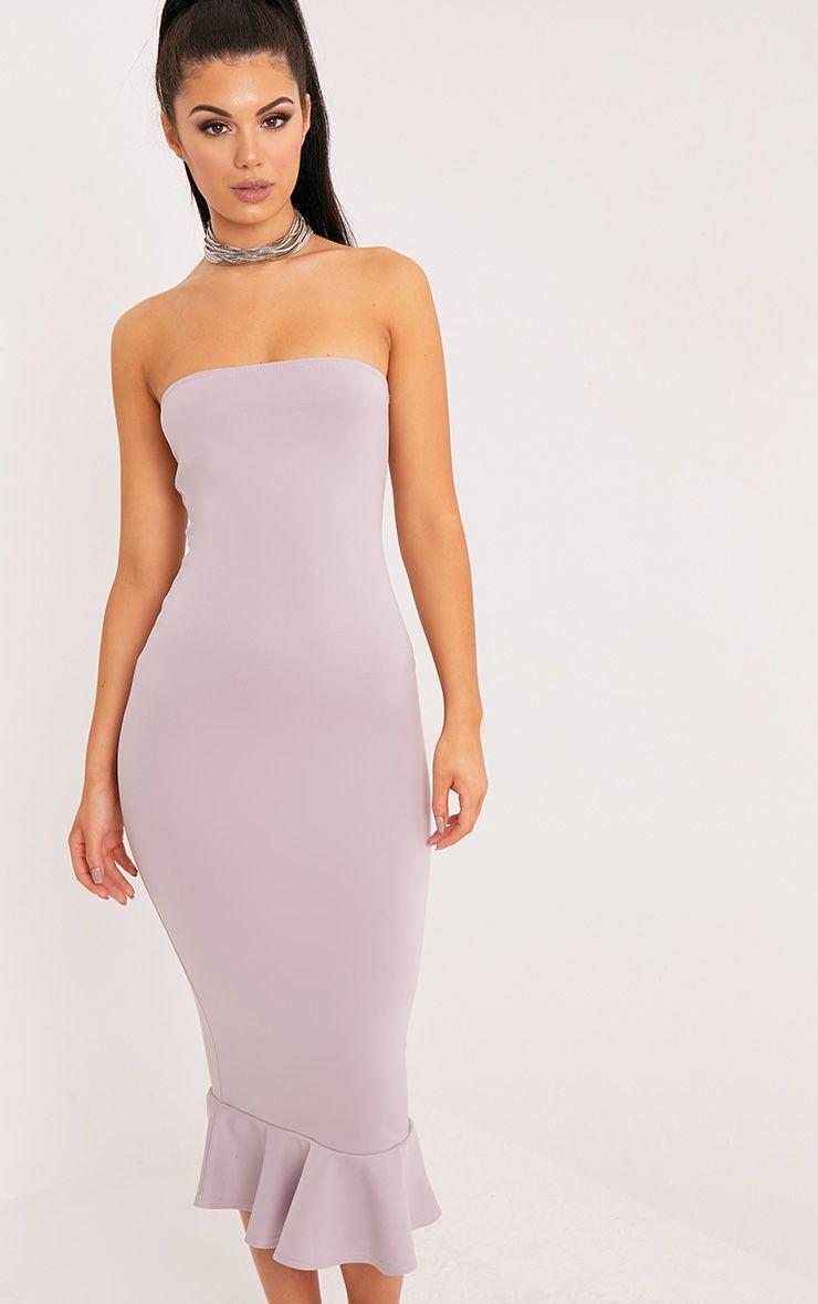 Isabella Lilac Grey Bandeau Frill Hem Midaxi Dress