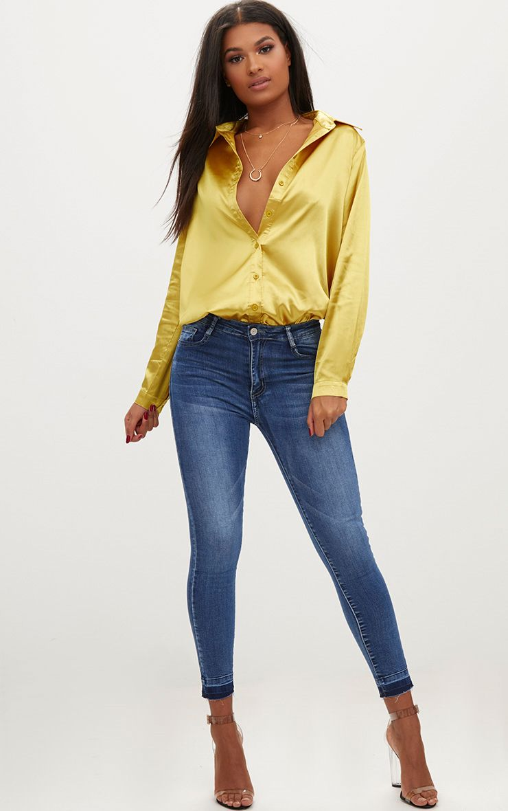 Mid Wash Contrast Hem High Waisted Skinny Jeans
