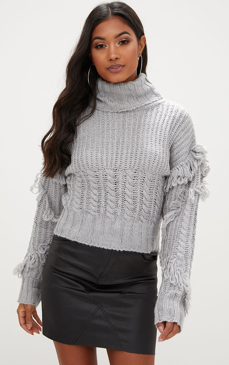 Grey Tassel Cable Knit Jumper