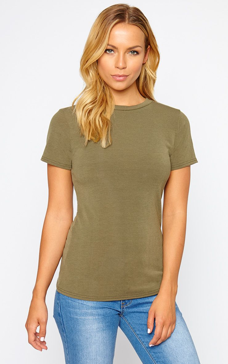 Basic Khaki Premium Ribbed Tee 1