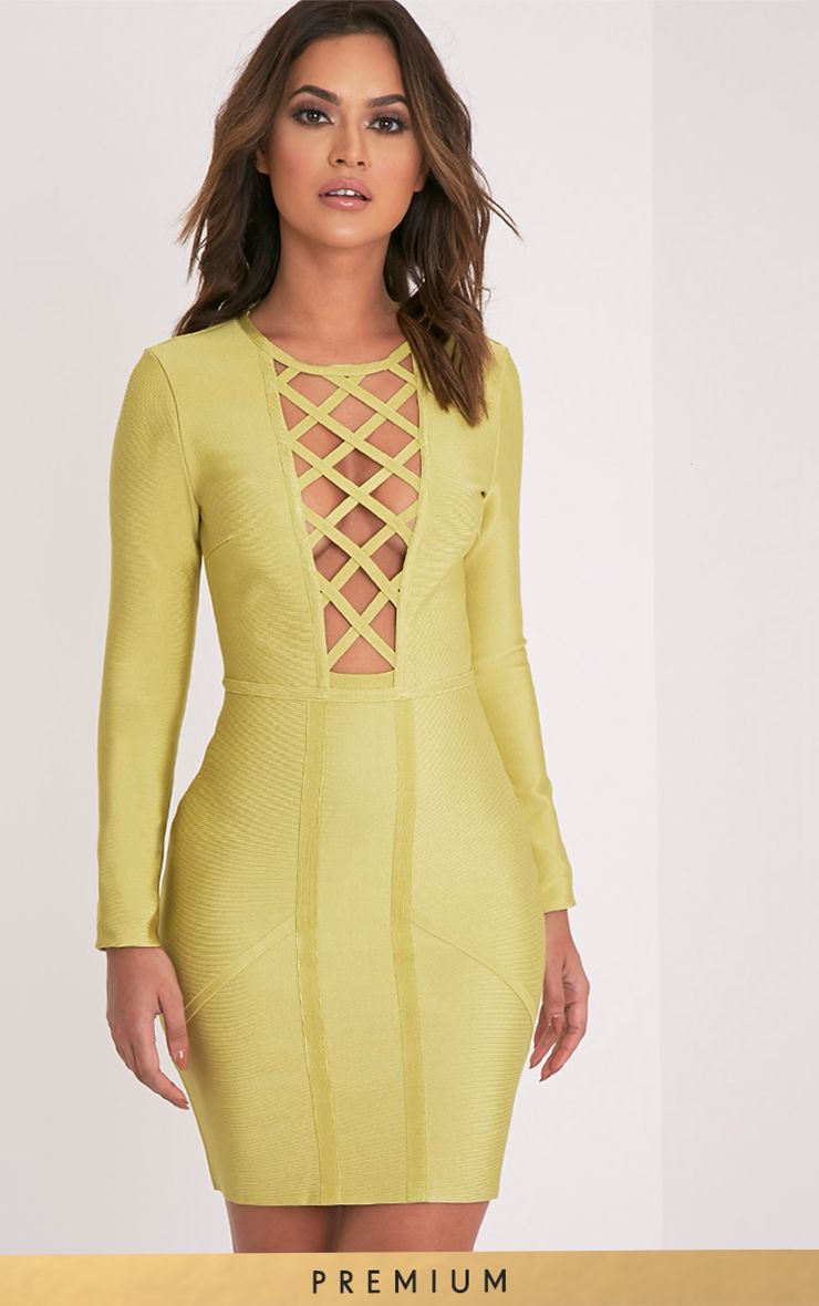 Livia Dark Lime Lattice Bandage Bodycon Dress 1