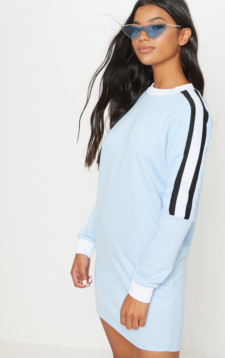 Pastel Blue Sport Stripe Long Sleeve Jumper Dress