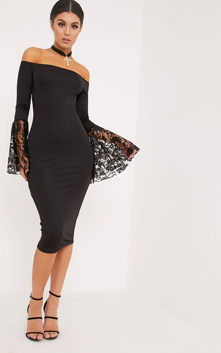 Tayler Black Bardot Lace Flared Sleeve Midi Dress