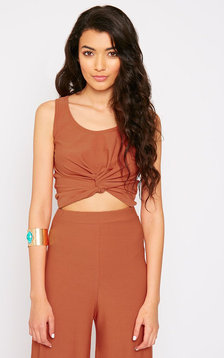 Zuri Rust Crepe Sleeveless Knot Front Crop Top 1