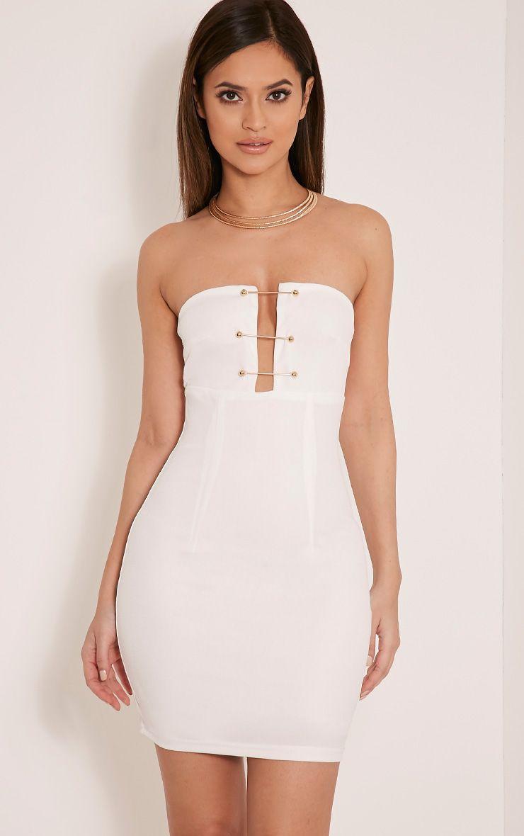 Semia White Pin Detail Bandeau Bodycon Dress 1