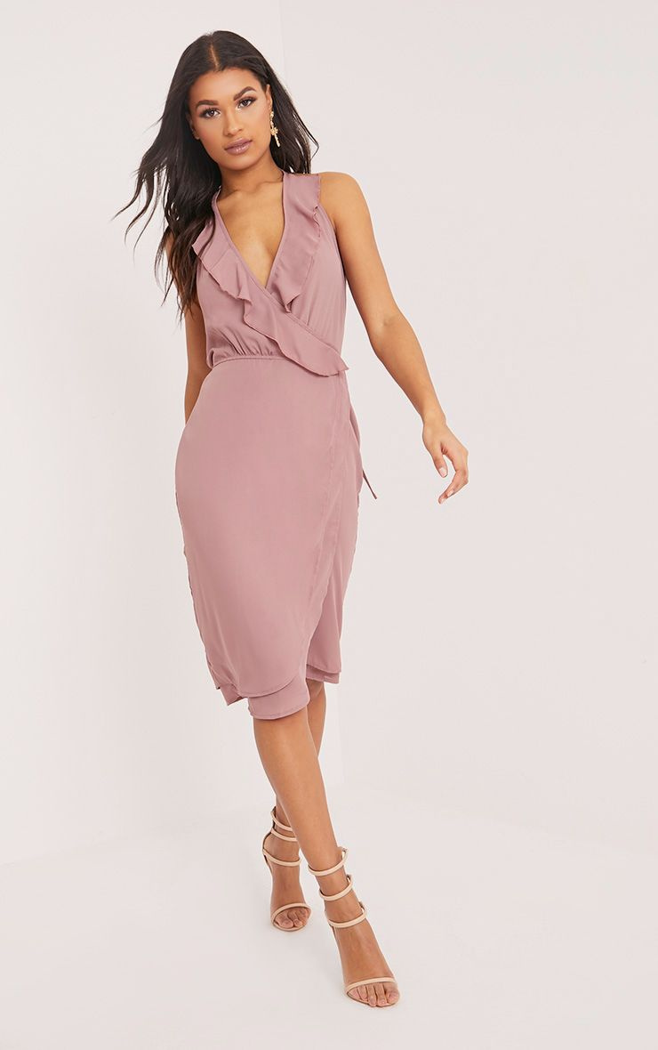 Karryana Dark Nude Halterneck Frill Wrap Midi Dress