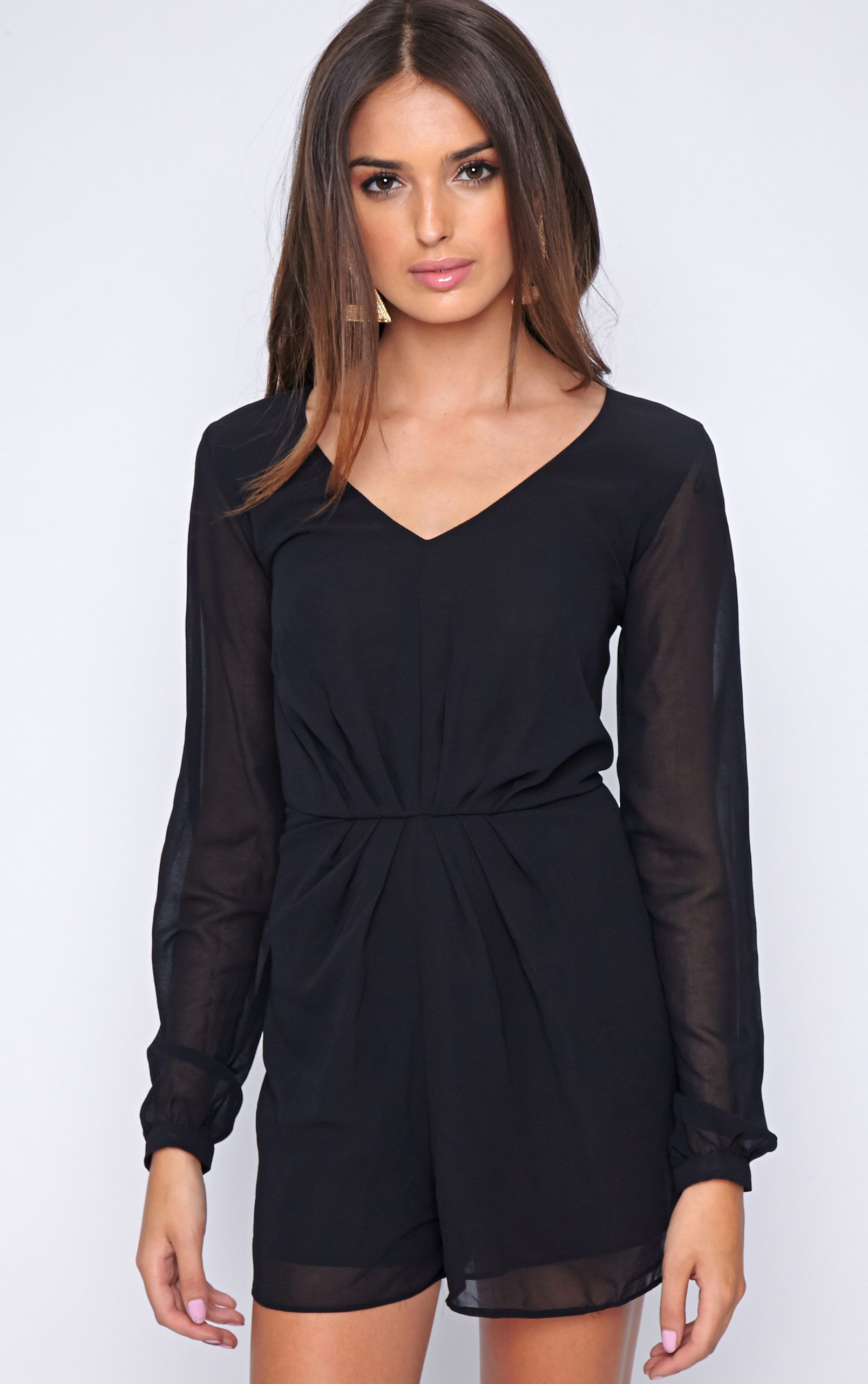 Alexandra Black Chiffon Playsuit 1