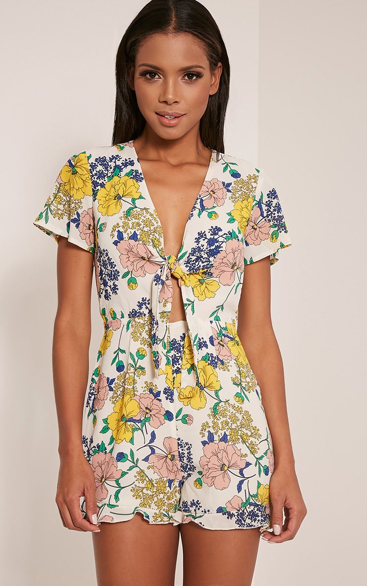 Chia Cream Floral Print Tie Front Playsuit 1