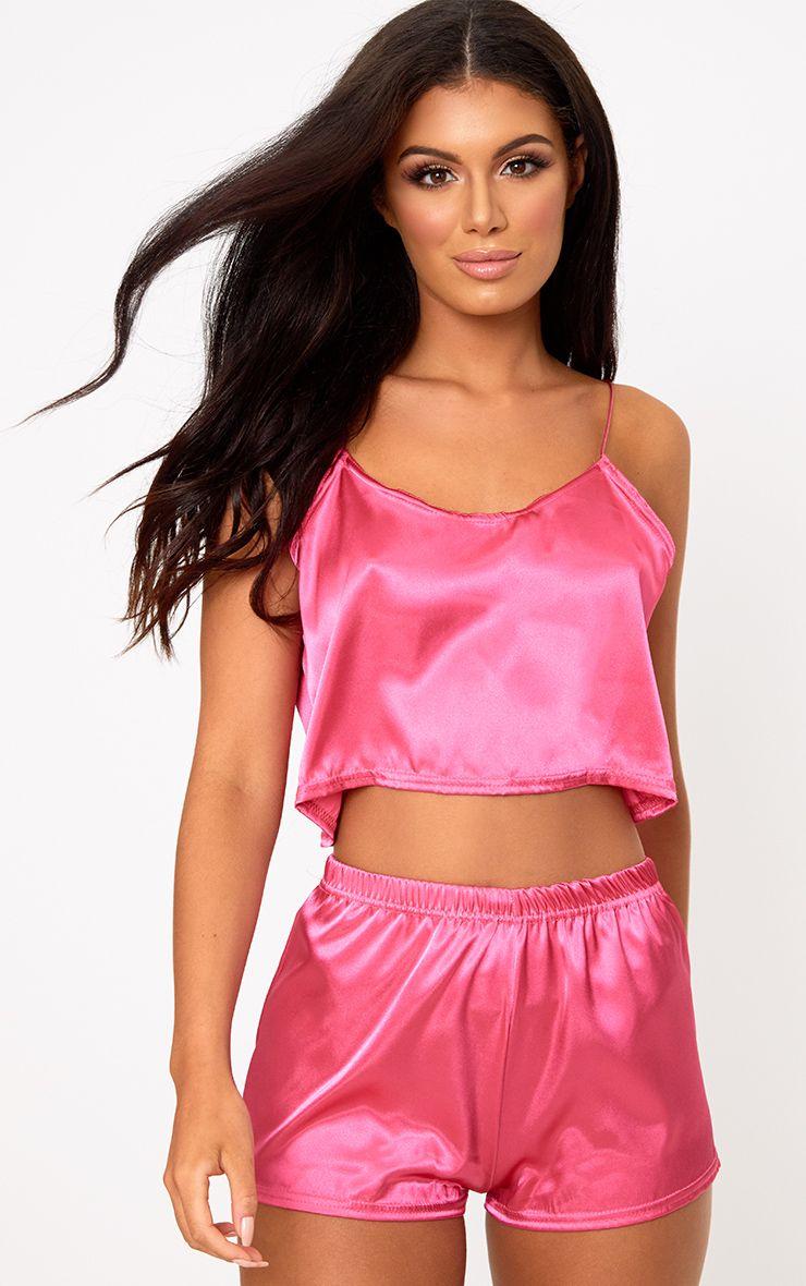 Hot Pink Satin Pyjama Shorts Set