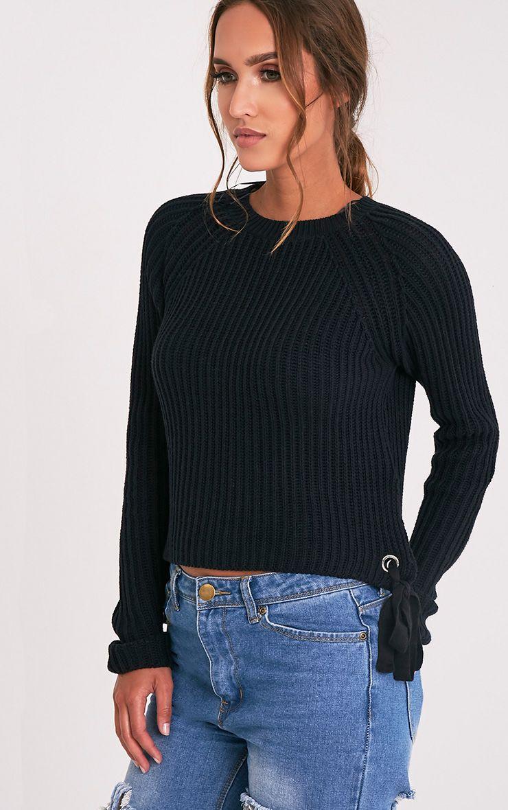 Tanae Black Lace Up Side Crop Jumper 1